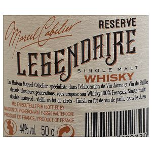 Marcel Cabelier Legendaire Reserve Single Malt Whisky Finish Paille 0,50l